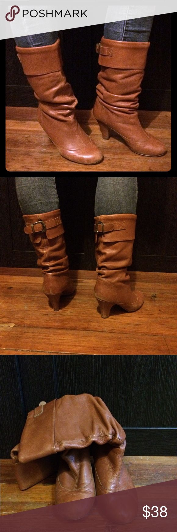 ⚛️New listing!⚛️ Used Leather boots Leather boots. Camel color. Slight heel. Used but still in good condition. Leather has a great worn quality and is very durable.   Purchased at Nordstrom, haven't worn in a several years. Scuff marks and bottom wear as pictured in photos.   Labeled as 7.  Owner is a size 8 and these fit perfectly with a light sock. Nordstrom Shoes Heeled Boots
