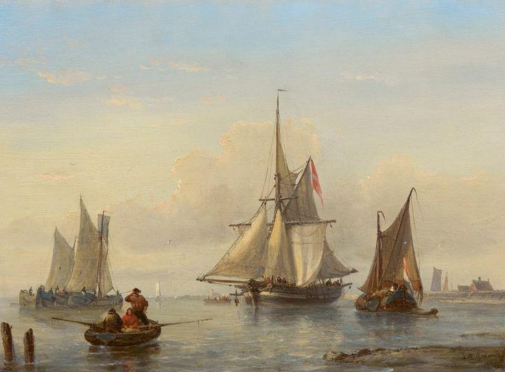 Witzel Opdenhoff - Zeilschepen op een windstille dag voor de kust - Fischer's Auction - since 2015