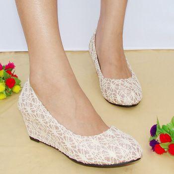 2013 spring single shoe women's wedges bridal medium women's hells shoes sweet wedding bridesmaid shoes