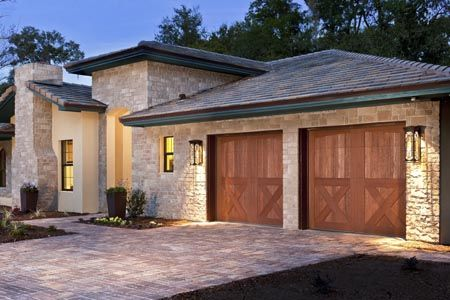 Clopay Canyon Ridge Collection stained composite garage door. Design 38, Arch1 top.