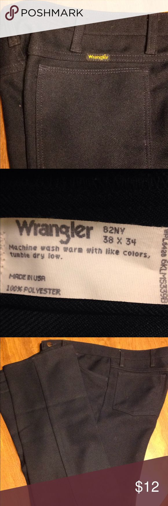 Wrangler black pants 38x34  100% polyester Old school   Appear to never have been worn Wrangler Pants Dress