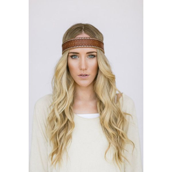 Bohemian Leather Headband Hippie Head Piece Tie On Vintage Up-cycled... ($38) ❤ liked on Polyvore featuring accessories, hair accessories, hair, leather headband, hippie hair accessories, tie headbands, hippy headband and hair bands accessories
