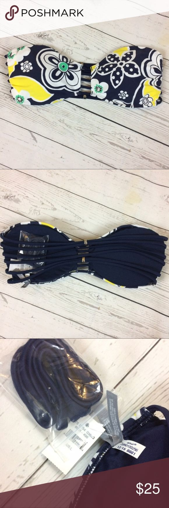 NWT Aerie Floral Navy Beaded Bikini Bandeaux Large New with tags. Strappy back with beaded straps. Removable straps included. Navy base color. Excellent new condition. aerie Swim Bikinis