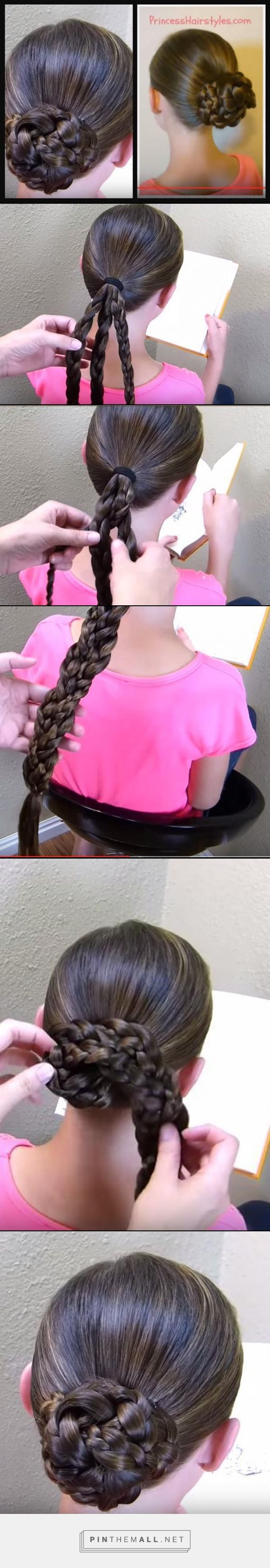 "//Easy Triple Braid Bun, Back To School Basic Hairstyles// using 3 braids braided together :)).. The real ""trick"" to this bun is the way in which the strands are braided together and how the hair is wrapped around the ponytail. You will want to keep things loose for the bun to lay more nicely, especially if your hair is long. #Princess Hairstyles #summer #hairstyle #school #تسريحة_سهلة تسريحة كعكة مضفرة -"