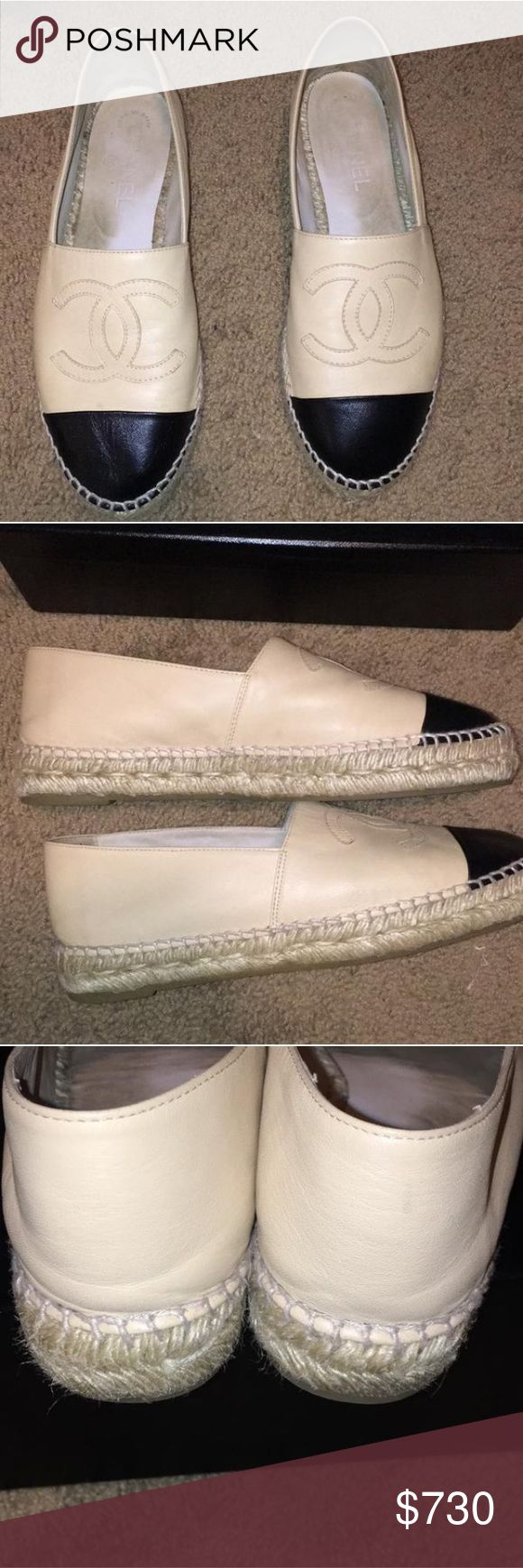 Chanel black and beige espadrilles Gently used Chanel espadrilles with lots of life left. The front part has worn a little bit. Inside has foot marks. CHANEL Shoes Espadrilles