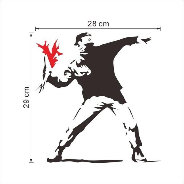 Famous Banksy painting work creative boy with red flower home decal wall stickers mural art sticker decor