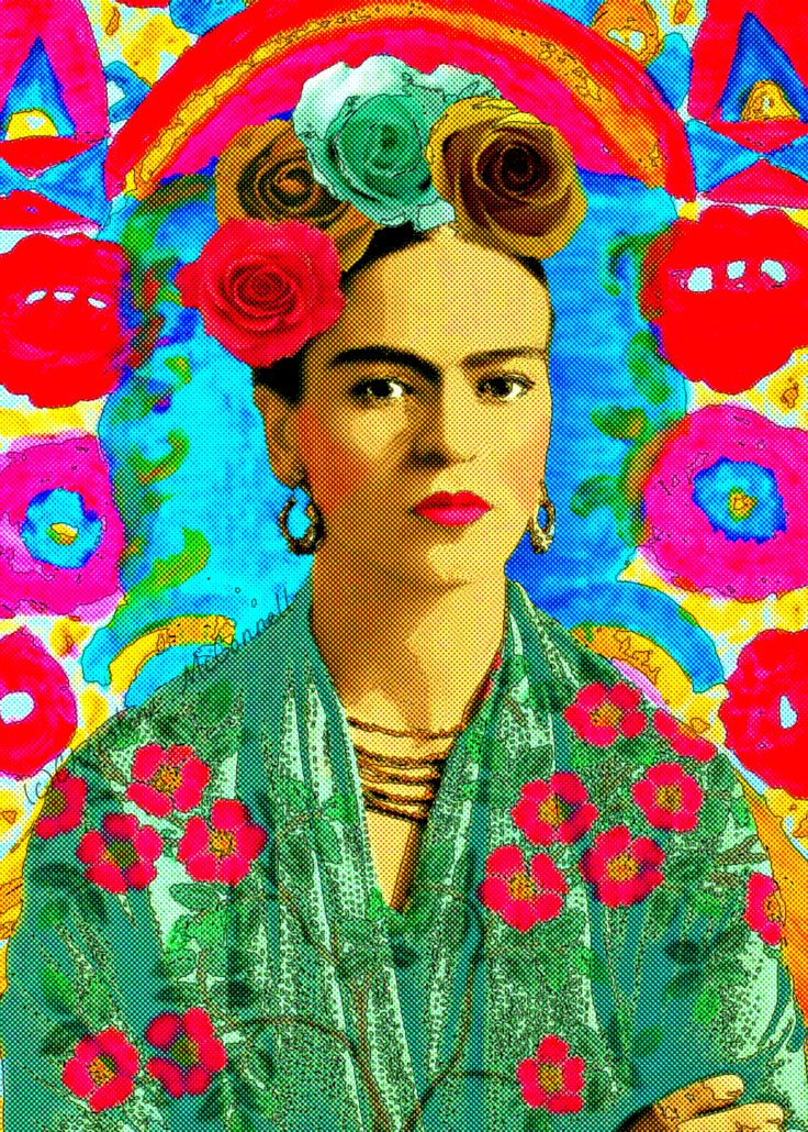 Frida Kahlo art comic style retro vintage print from artdecadence.etsy.com