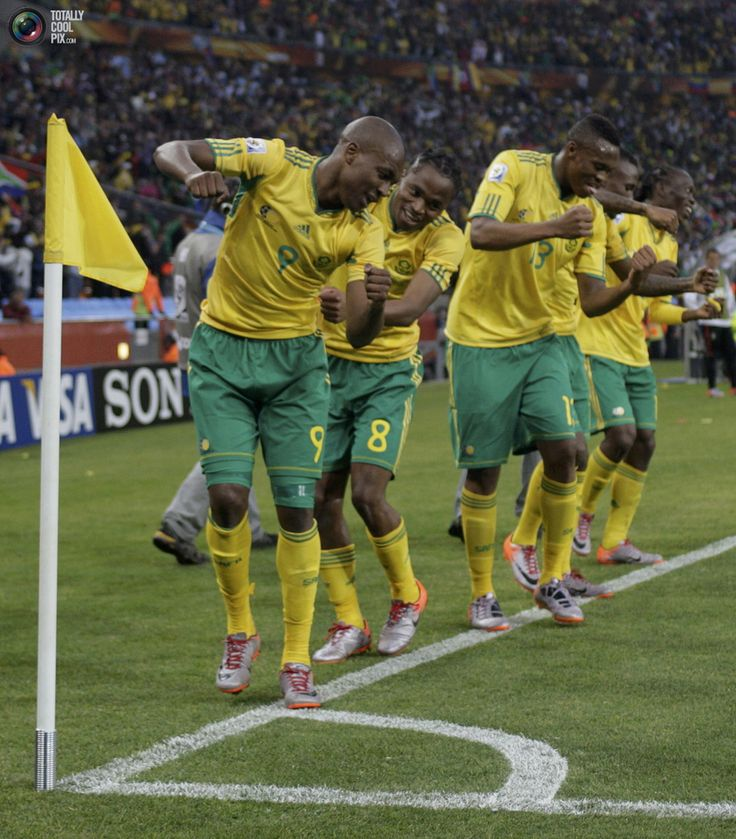 South Africa's Siphiwe Tshabalala  dances with team mates after he scored the first goal against Mexico during their 2010 World Cup