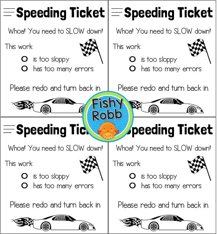 FREE speeding ticket for sloppy work/working too fast