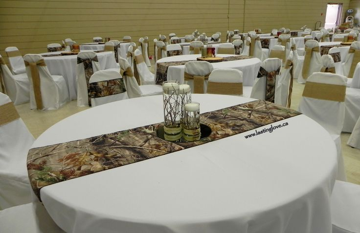 Burlap and camo hunter wedding centerpieces #camoflauge #mossyoak #rusticwedding…