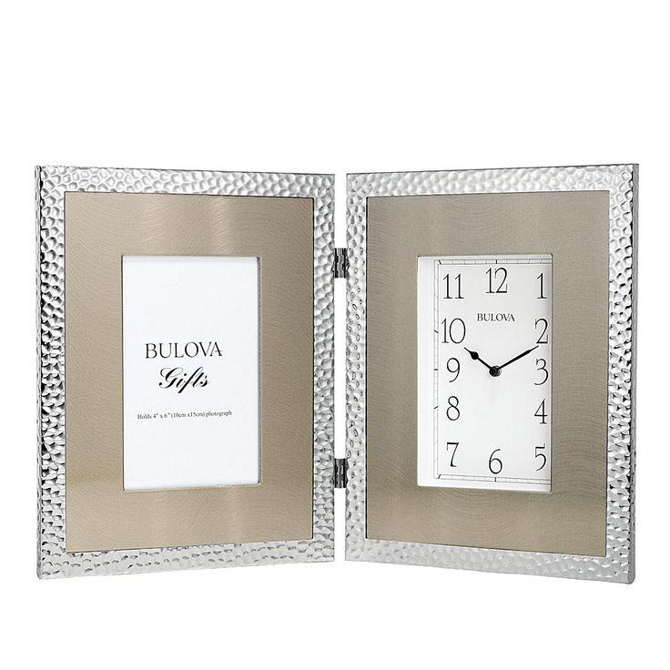 """Bulova """"Pebblestone"""" Silvertone Picture Frame Clock"""
