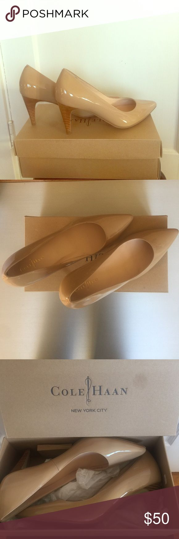 Cole Haan air Juliana pump, NIB Lightly tan colored pumps, in sandstone patent leather. Nike Air technology makes these crazy comfortable. Never worn, new in box. Cole Haan Shoes Heels