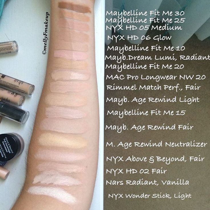 All of my concealers swatched together maybelline fit me