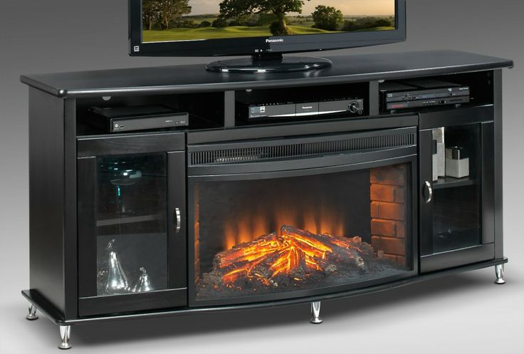Beautiful Tall Fireplace Tv Stand For Our Tv Room Glossy Black Fireplace Tv Stand Metallic