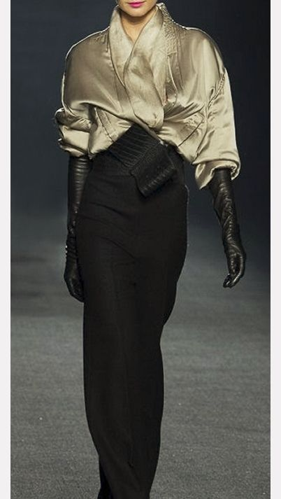 This creation has two of my fashion food groups - satin and leather (luv the long gloves).