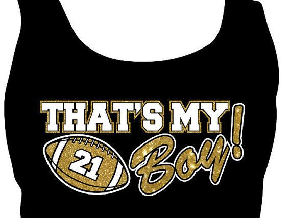 Thats My Boy Football Mom Tank Top. Personalized by GlitzyTees