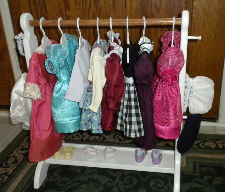 """18 """" Clothes storage or shoe rack for  18"""" dolls or American Girl doll clothes. $65.00, via Etsy."""