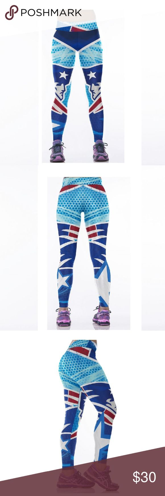🏈SALE🏈 New England Patriots NFL Leggings Root for your favorite team in these high quality NFL leggings! Perfect wardrobe addition while watching Sunday football games. The vivid colors and designs are sure to turn heads! Get a pair now while they last to show your team support every week as they inch their way to the glorious Super Bowl.  Condition: Brand New in Packaging Material: Spandex / Polyester Measurements:  (Length / Waist / Hip) S/M: 36 / 27.5-37 / 33-41.5 L/XL: 36.5 / 30 – 39.5…