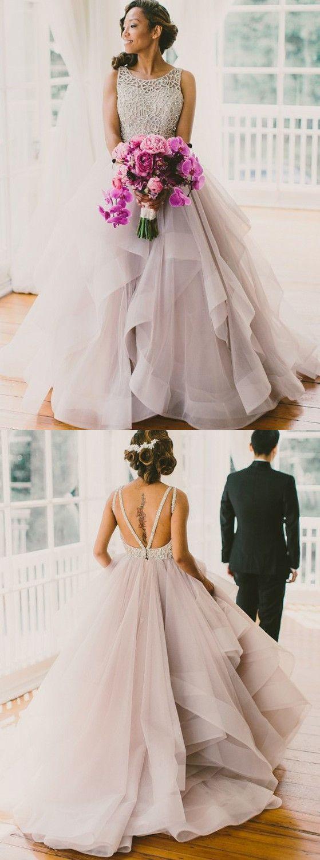 Rundhalsausschnitt A-Linie Rückenfrei Brautkleider