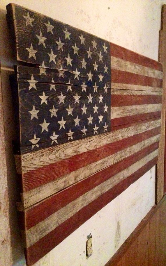 American Flag made from old reclaimed rustic barn wood and stained crimson  and indigo - 25+ Best Ideas About Wood Flag On Pinterest American Flag Decor