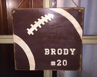 Personalized football hanging sign by ScrappyOwlCreations on Etsy
