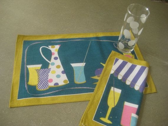 Vintage Placemats Vintage Napkins Midcentury by BettyAndDot