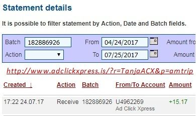 Here is my #15 Withdrawal Proof from Ad Click Xpress.  I get paid daily and I can withdraw daily. Online income is possible with ACX, who is definitely paying - no scam here. I WORK FROM HOME less than 10 minutes and I manage to cover my LOW SALARY INCOME. If you are a PASSIVE INCOME SEEKER, then AdClickXpress (Ad Click Xpress) is the best ONLINE OPPORTUNITY for you. Join for FREE and get 10$ for Tripler value packs from ACX . Make 2% Per Day - Easy!