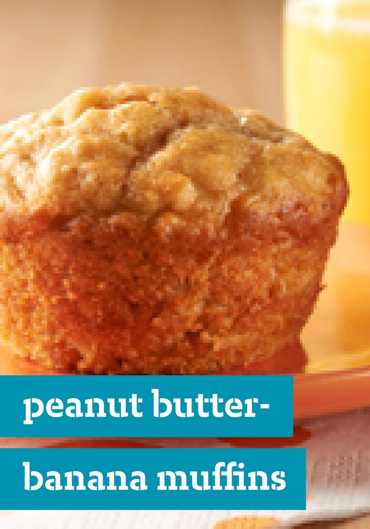 Peanut Butter-Banana Muffins -- Skip the line at the bakery and surprise your family with this delicious recipe: tender, moist banana muffins with creamy peanut butter and a whiff of vanilla.