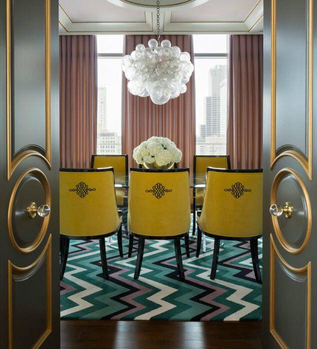 Modern glam penthouse designed by Tobi Fairley, shown in Rue magazine, Jan 15, 2015.