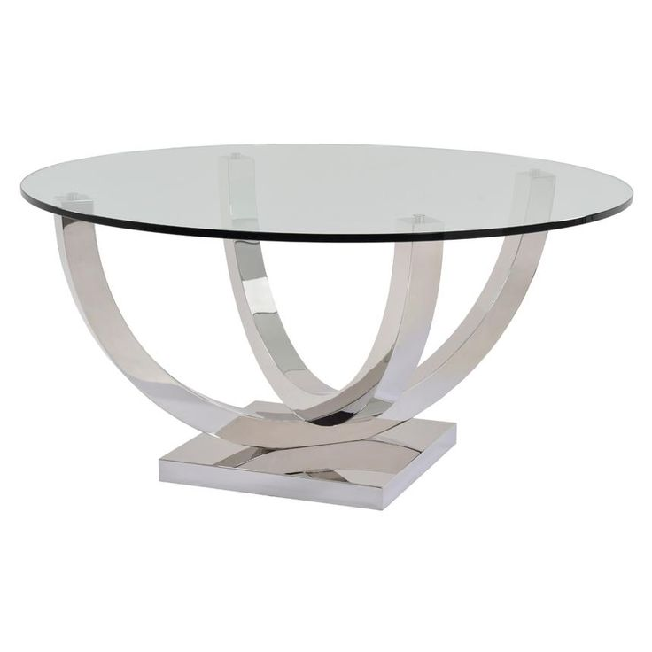 mesa tapa de cristal redonda patas de acero dos arcos cruzados
