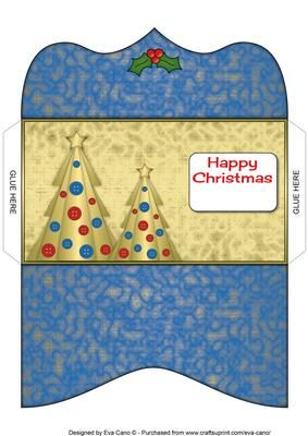 Buttons Christmas Trees II Money Wallet blue on Craftsuprint - Add To Basket!