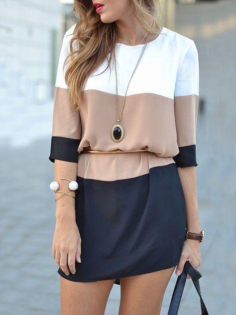 bccb6eb6c Black Color Block Print Three Quarter Length Sleeve Chiffon Dress ...