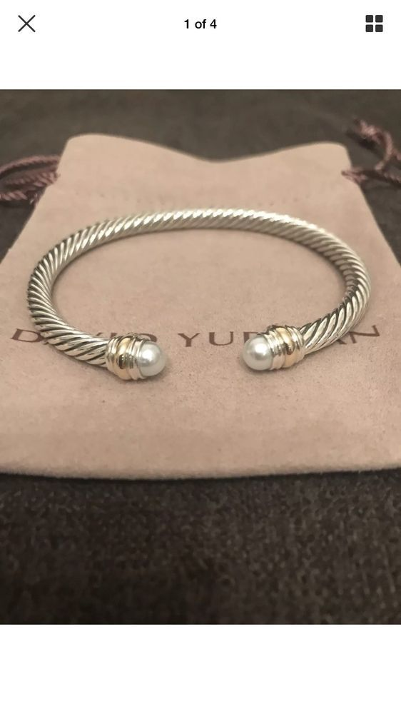 4a21f1bdeb3bb4 David Yurman Cable Classics Bracelet with Pearl & 14k Gold 5mm Med  Authentic #DavidYurman #Cuff