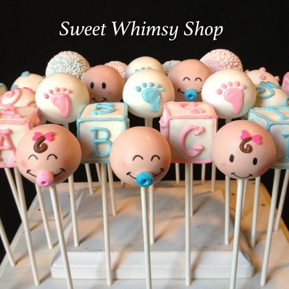 12 Baby Face Cake Pops for baby shower gender por SweetWhimsyShop