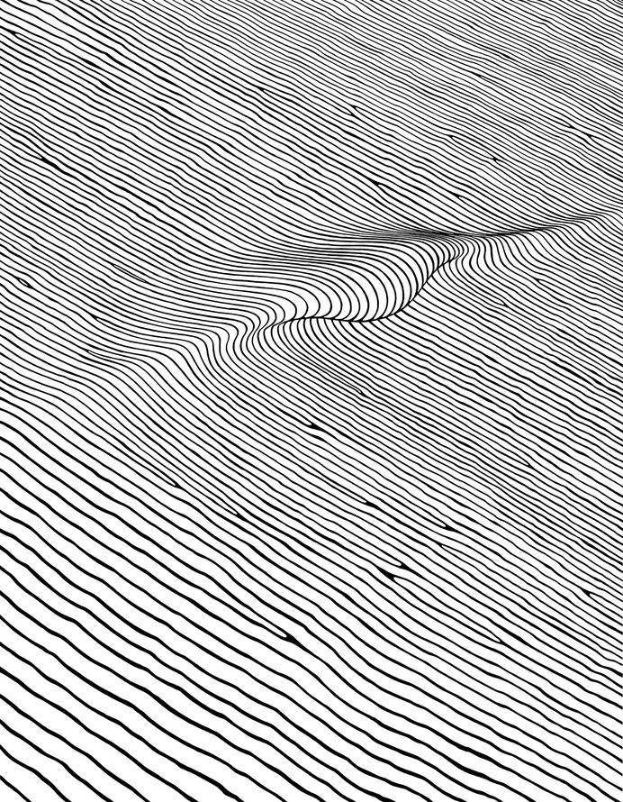 Line Wave Hand-drawn Sea Black White                                                                                                                                                                                 More