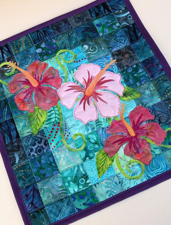 Batik Hibiscus Quilted Wall Hanging Art Quilt Pattern Or Etsy Art Quilts Hawaiian Applique Quilt Quilted Wall Hangings