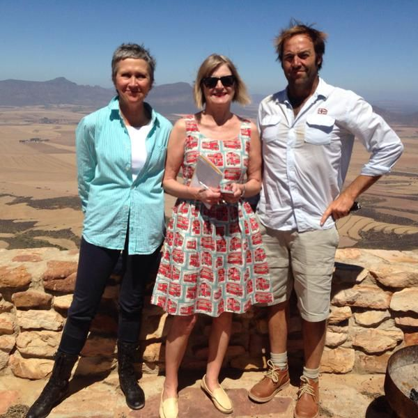 A great shot: Jancis Robinson, Eben Sadie & Rosa Kruger: the ‪#‎Swartland‬ behind them & ‪#‎Piekenierskloof‬ in front. A photo by www.grape.co.za ‪#‎SouthAfrica‬
