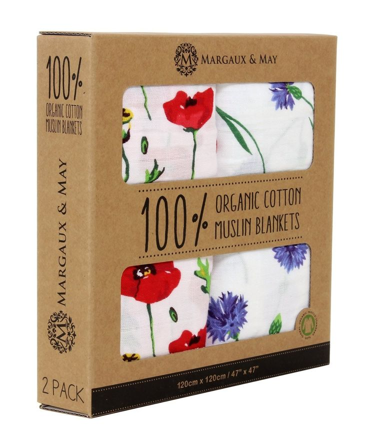 Organic Muslin Swaddle Blanket - Margaux & May - X Large Swaddling Blankets - Poppies & Corn Flowers