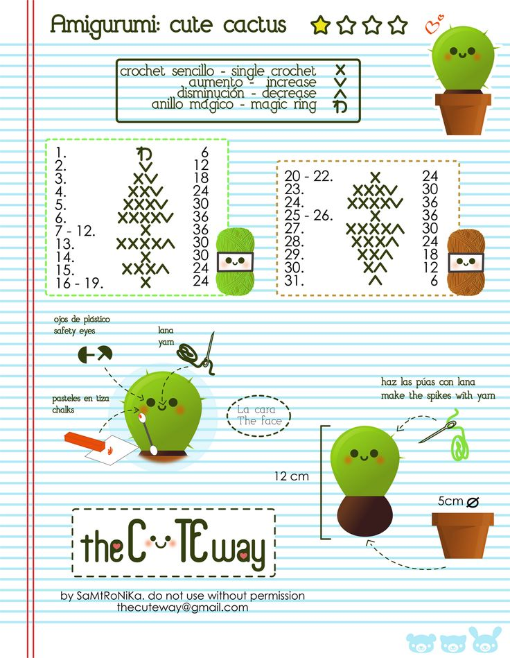 RANDOM LITTLE ME: .:Cute Cactus:. patrón/pattern amigurumi