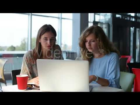 Young Girl In Modern Cafe With Coffee And Laptop 1 (Stock Footage)