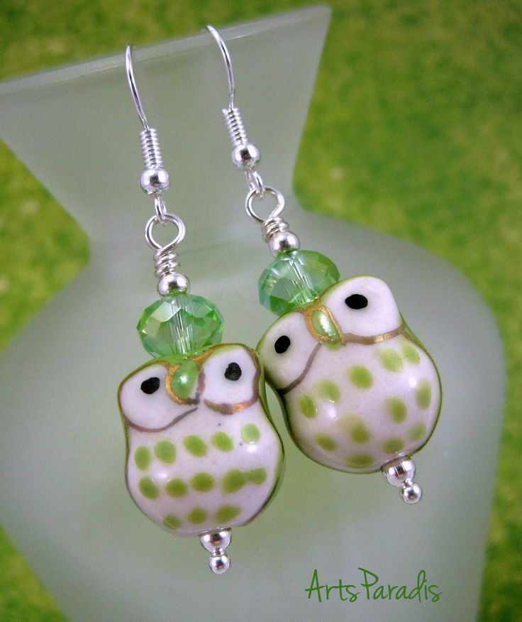 Light Green and White Ceramic Owl Earrings by ArtsParadis