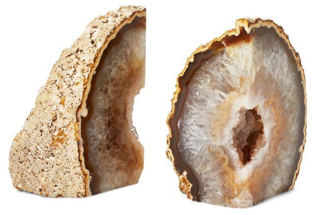 S/2 Agate Geode Bookends
