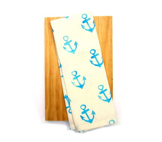 Blue Anchor Print Coastal Tea Towel by Emma Allard Smith