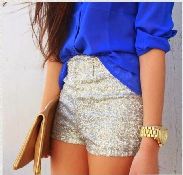 How to Chic: SEQUIN SHORTS: Blouses, Glitter Shorts, Fashion Style, Sequins Shorts, Cobalt Blue, Outfit, Summer Night, Summer Shorts, High Waist Shorts