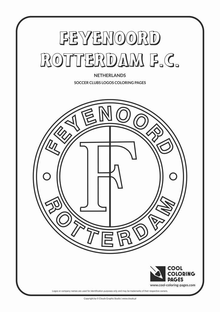 Cool Coloring Pages - Soccer Clubs Logos / Feyenoord Rotterdam logo / Coloring page with Feyenoord Rotterdam logo