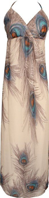 Amazon.com: Chiffon Peacock Maxi Dress Junior Plus Size: Clothing
