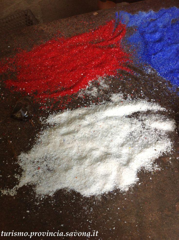 Polvere di vetro colorata