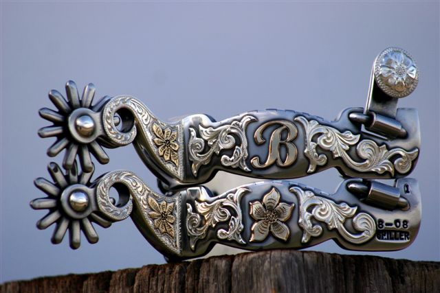 Custom spurs by Joe Spiller  (I love the B initial even though these were made for someone else.)