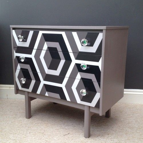 Upcycled Retro Chest Of Drawers Cabinet Storage Cole & Son 'Hexagon' Bespoke .