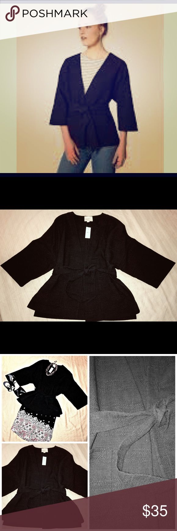 🆕 LOFT Black Kimono Wrap Jacket M/L Brand New with tag, 3/4 length Kimono sleeve black boucle fabric jacket. From day to night it's sure to be a hit. Size M/L but fits more like a medium through the hips. Tie waist with front welt pockets. Would style well with jeans, dress pants or skirt. Dress it up with a cami and jewelry or down with a ballet t-shirt.  Throw it over a dress to make it work appropriate and extend your wardrobe. LOFT Jackets & Coats Blazers